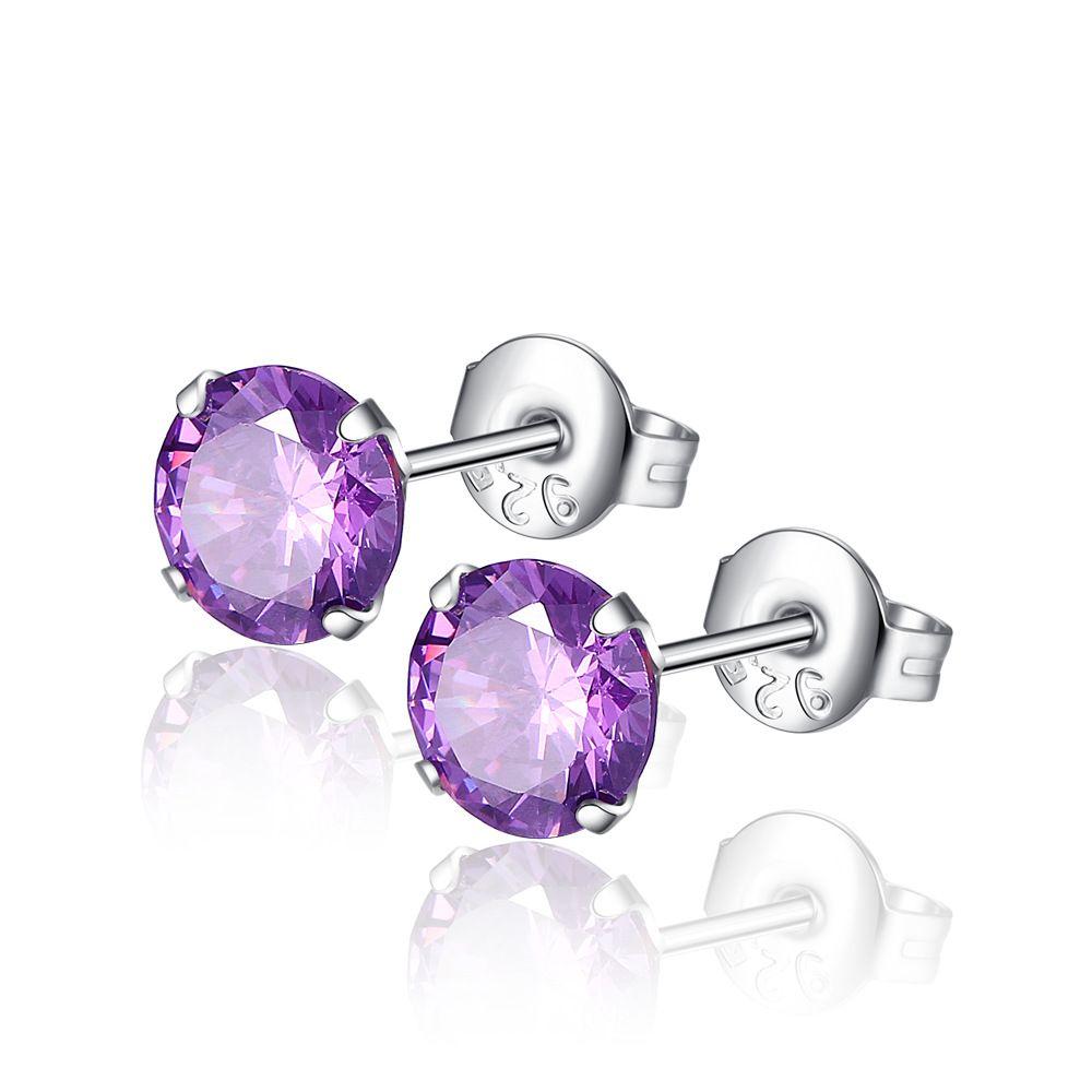 Профессия Оптовая мода февраль камень фиолетовый аметист серьги 6 мм Циркон Коготь серьги в серебре 925