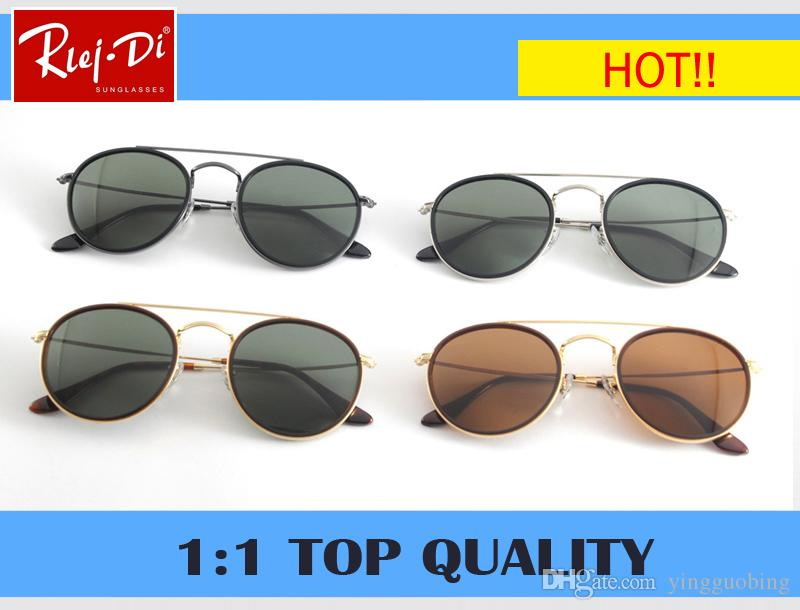 0a5f7657661 RLEI DI Top Quality 3647 Glass Lens Round Sunglasses Women Men 51mm ...