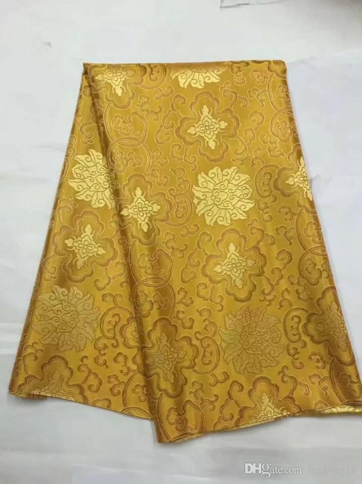 8 Meters/pc New fashion gold african cotton fabric and nice embroidery swiss voile lace for clothes JC18-1