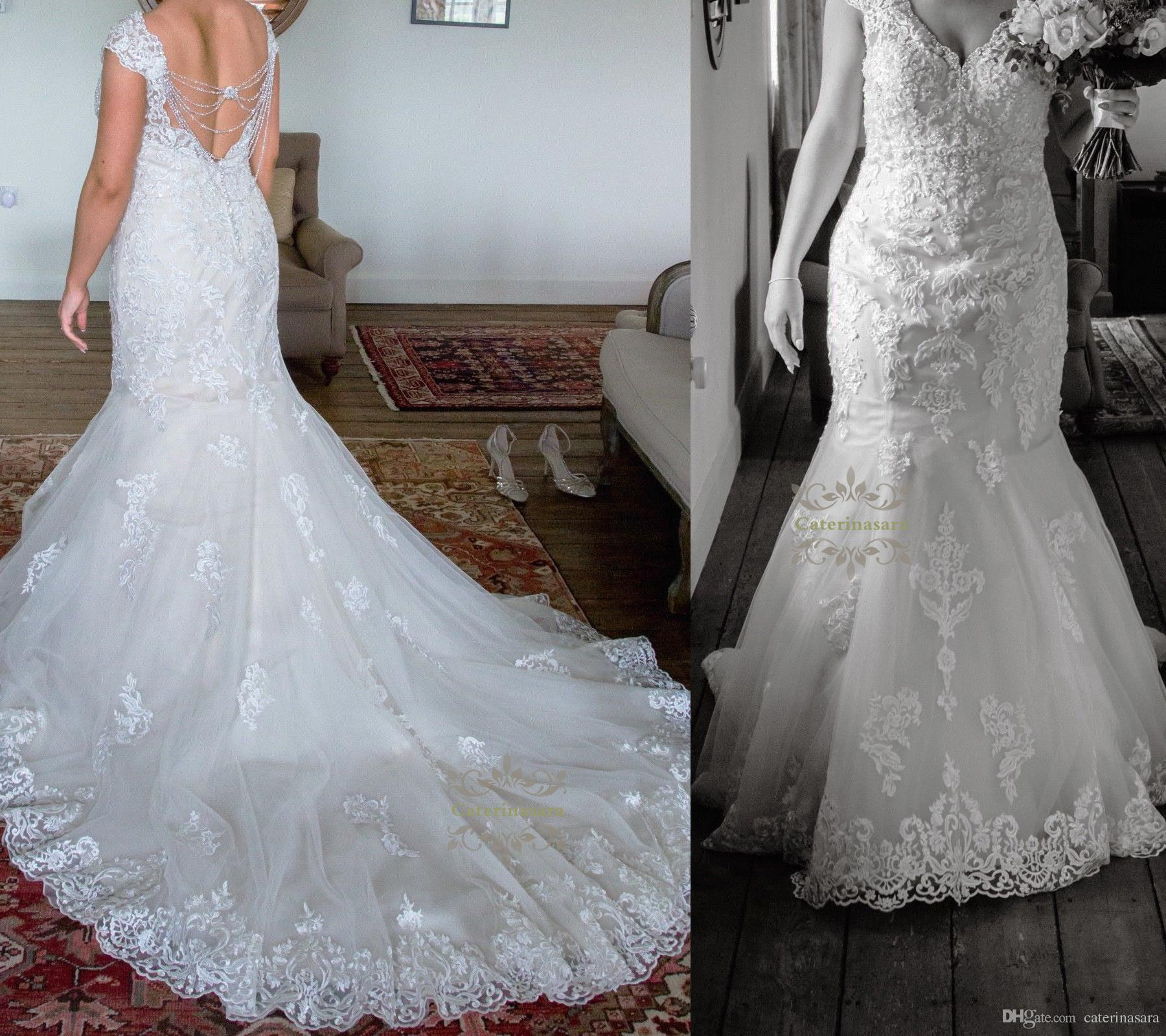 Modest Lace & Satin V Neckline Mermaid Plus Size Wedding Dress Off ...