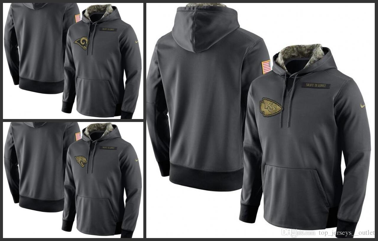 timeless design 2eddc a90d6 Los Angeles Rams Kansas City Chiefs Jacksonville Jaguars Men Anthracite  Salute to Service Player Performance Hoodie