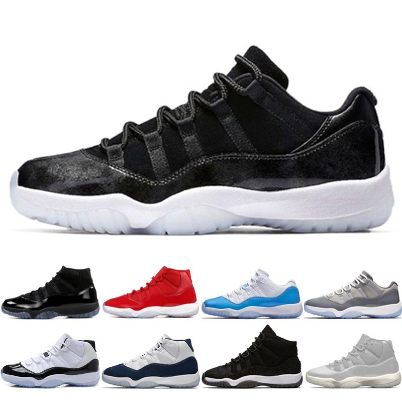 2019 11 11s Cap And Gown Prom Night Men Basketball Shoes Platinum Tint Gym  Red Bred PRM Heiress Barons Concord 45 Legeng Blue Mens Sport Sneakers From  ... f4784bcfbfba