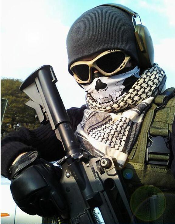 Schädel Gesichtsmaske Multifunktions Turban Outdoor Sports Warme Ski Caps Radfahren Motorrad Schals Bandana CS Hals Snood Cosplay Masken