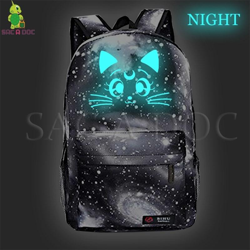 39be3cdc42ca Galaxy Sailor Moon Luminous Backpack Children School Bags Casual Rucksack  Luna Cat Backpack Starry Night Travel Daypacks Back Pack Mochilas Jansport  From ...