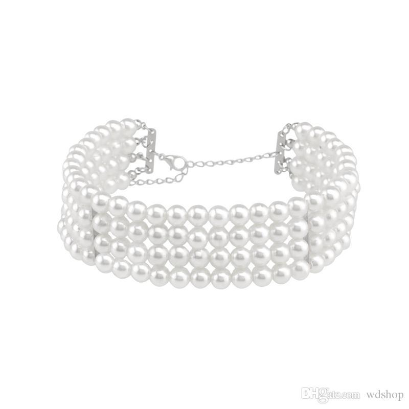 Многослойные Имитация Жемчуга Колье Ожерелье Мода Короткие Цепи Ожерелье Для Женщин Заявление Ювелирные Изделия Бесплатная Доставка