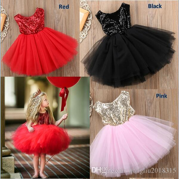 2019 Summer 2018 New Fashion Kids Baby Girls Lovely Sequins Ruffle Loose Bowknot  Sleeveless Party Wedding Tutu Dress Baby Girls Gown Skirts KA587 From ... 59733c3d0dc0