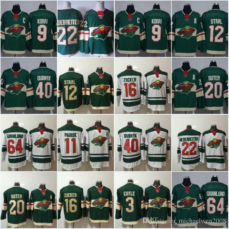 wholesale dealer 5abb7 defdc Minnesota Wild Jersey 11 Zach Parise 22 Nino Niederreiter 40 Devan Dubnyk  64 Mikael Granlund 9 Mikko Koivu 20 Ryan Suter Hockey Jerseys