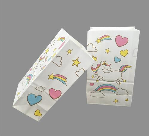 Birthday Party Favors Candy Box Unicorn Popcorn Paper Bags Baby Shower Gifts DIY Theme Tableware 50th Themes 60th