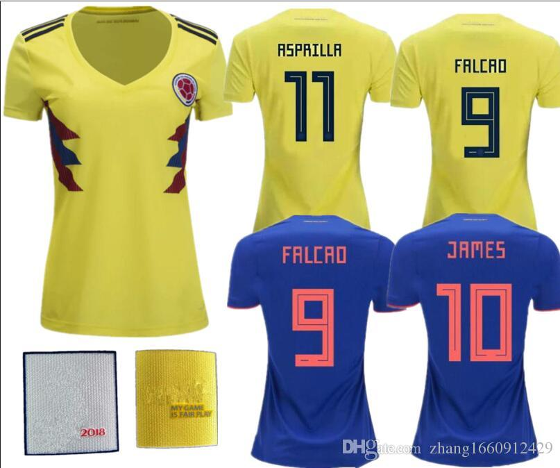 13e50b622 World Cup 2018 19 Colombia Home Away Women Soccer Jerseys James Falcao  Futbol Camisa Camisetas Shirt Kit Maillot Soccer Jerseys Colombia Woman  Online with ...