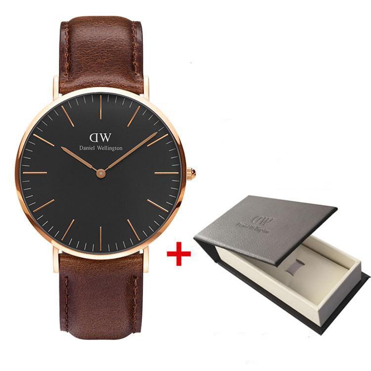 161a21a863dc Men s Watch Luxury Business Casual Brand 40MM Leather Strap Quartz ...