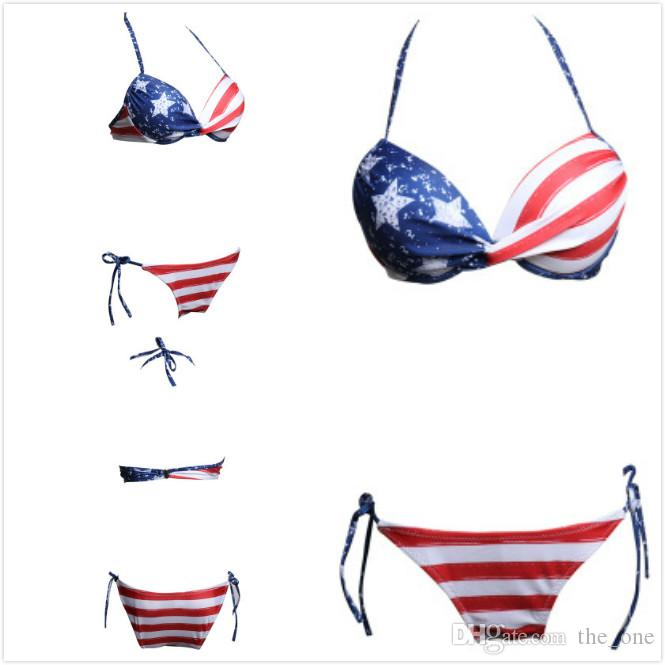 2e0b013609 2019 Women Sexy Bikinis Bathing Suits American Flag Print Red Striped  Briefs Blue Stars Bra Two Pieces Summer Beachwear Independence Day Swimsuit  From ...