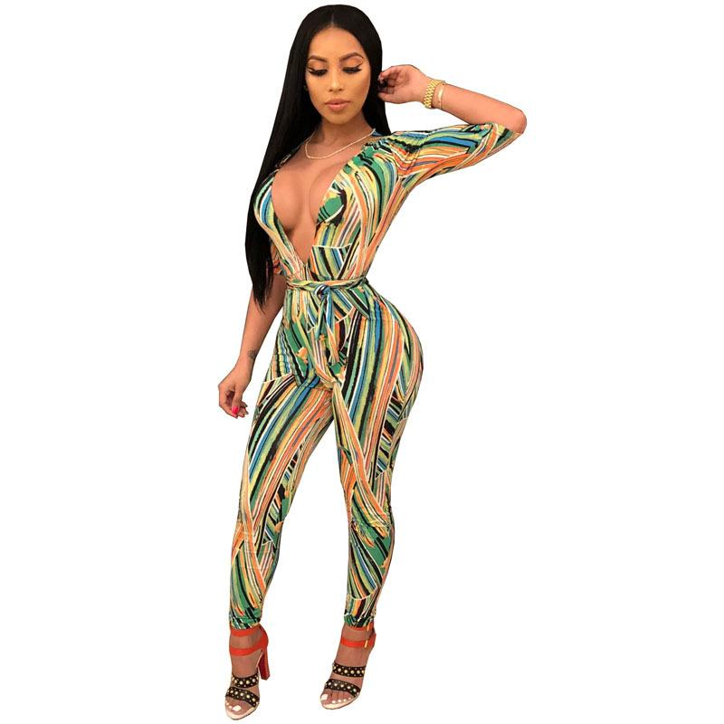 6389d23aa210 2019 Sexy Deep V Neck Printed Jumpsuits Romper Women Half Sleeve Slim  Bodycon Jumpsuit Sash Boho Summer Jumpsuit Overalls For Women From Beimu