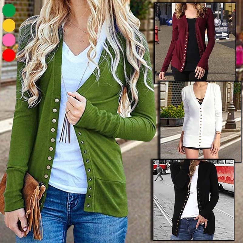 Women's Fashion Casual V Neck Long Sleeve Knitted Sweater Button Down Cardigan Tops Outwear Coat