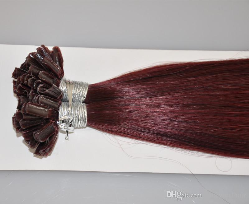 Punta doble de Keratina INDIAN REMY Extensiones de cabello humano 0.8g / s 200s / 99J Extensiones de cabello color U U, Free Dhl