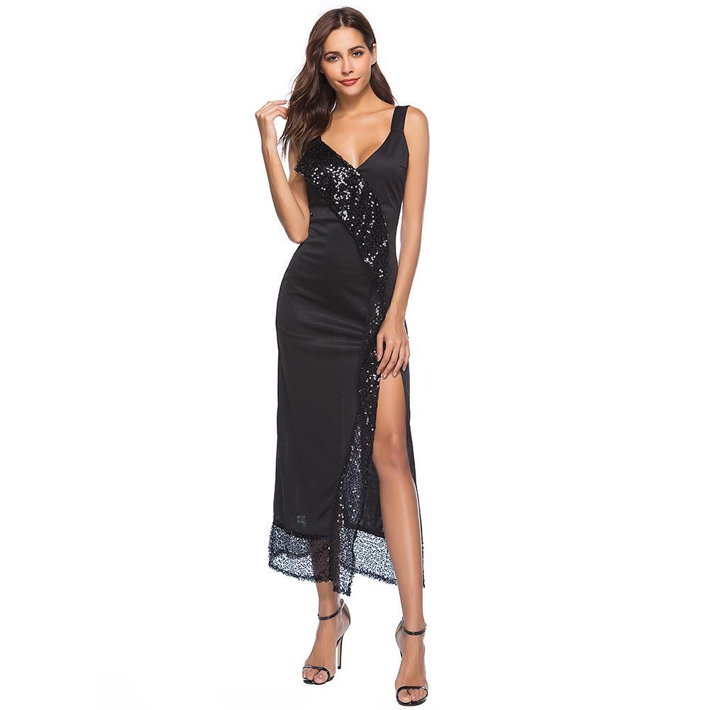 bc2240ec294 Sexy Women Summer Split Dress Sequin Deep V Neck Sleeveless Backless  Sundress Nightclub Party Maxi Long Dress Black Vestidos Golden Party Dress  Ladies Dress ...