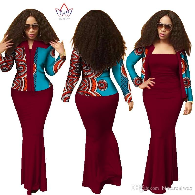 9686584bb2cd7 BRW 2018 Summer African Dresses for Women Dashiki Dress Crop Top Long Dress  Suits Plus Size Traditional Clothing WY1313 Top Skirt Sets Skirt Sets Dress  Set ...