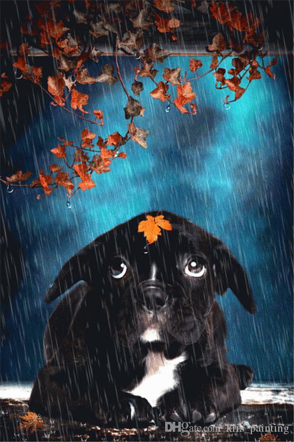 Diamant broderie animaux chien noir diamant peinture kit diy point de croix résineuses décoration maison mosaïque diamant carré zxh0632