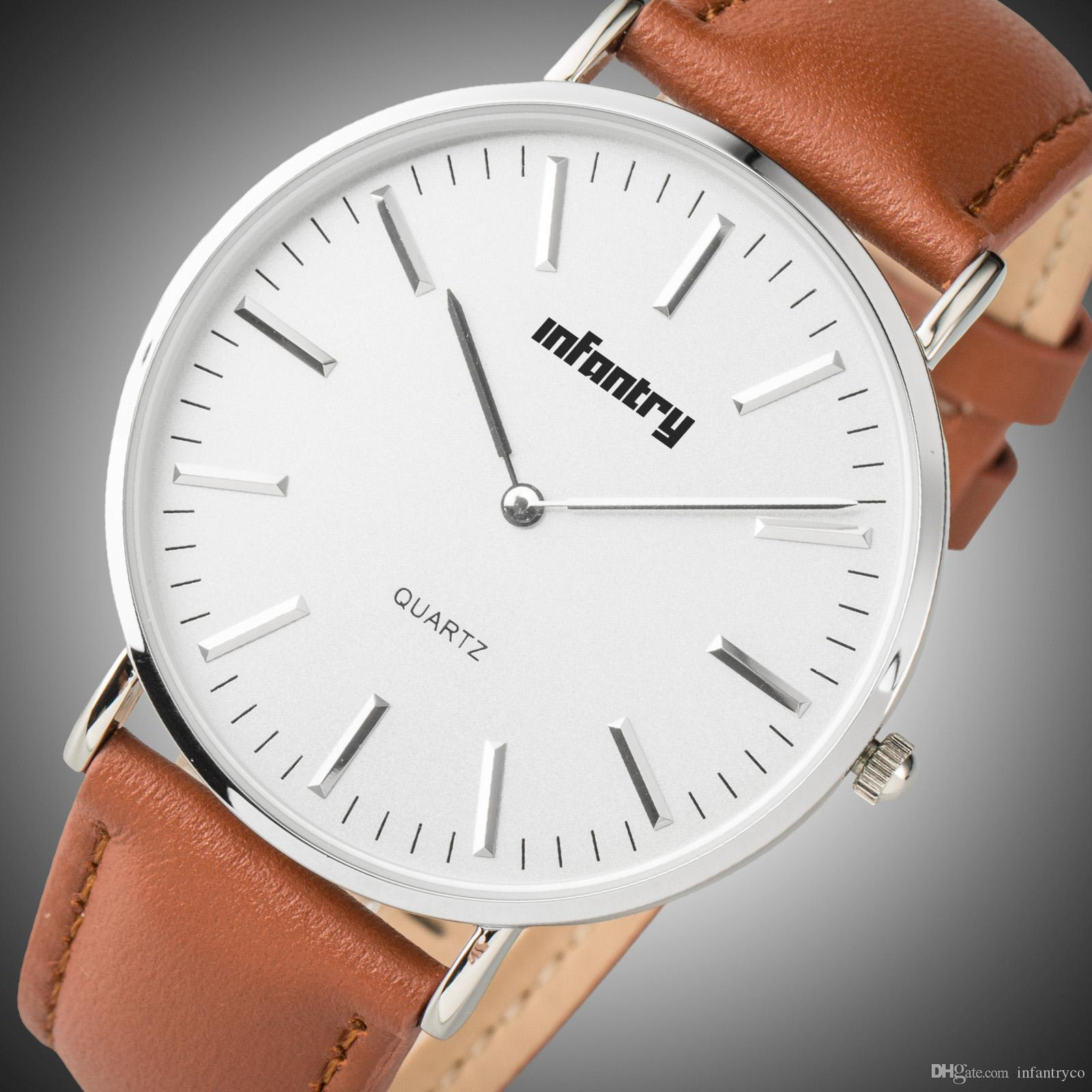 bc9b685eea4 Compre Famosa Montre Moda Marca INFANTARIA Relógios Para Homens E Mulheres  Vestido Daniel De Luxo Relógio De Quartzo Pulseira De Couro Esporte Relógios  40mm ...