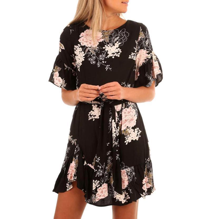 Elegant Women Summer Dress Bohemian Style Ladies Ruffles Print Floral Short  Sleeve Chiffon Casual Mini Dresses Vestiti Donna Floral White Dress Womens  ... 5d512464852
