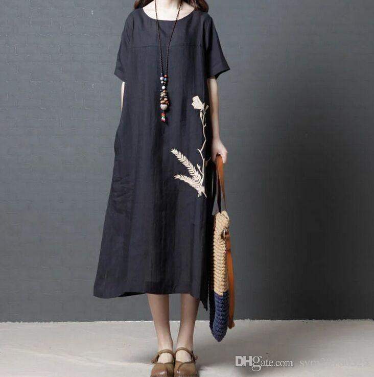 a8630a48afa 2018 Summer New Cotton Linen Loose Large Size Women S Clothing Fashion  Round Neck Short Sleeve Dress National Style Dress Shop Cocktail Dresses  Lace Summer ...
