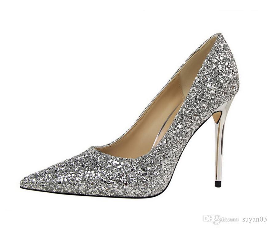 0a7b792c117481 Großhandel Womens Größe 10 Heels Metallabsatz Stiletto Glitter Hochzeit  Pumps Large Size 34 39 Schwarz Golden Silver Heels Schuhe Von Suyan03