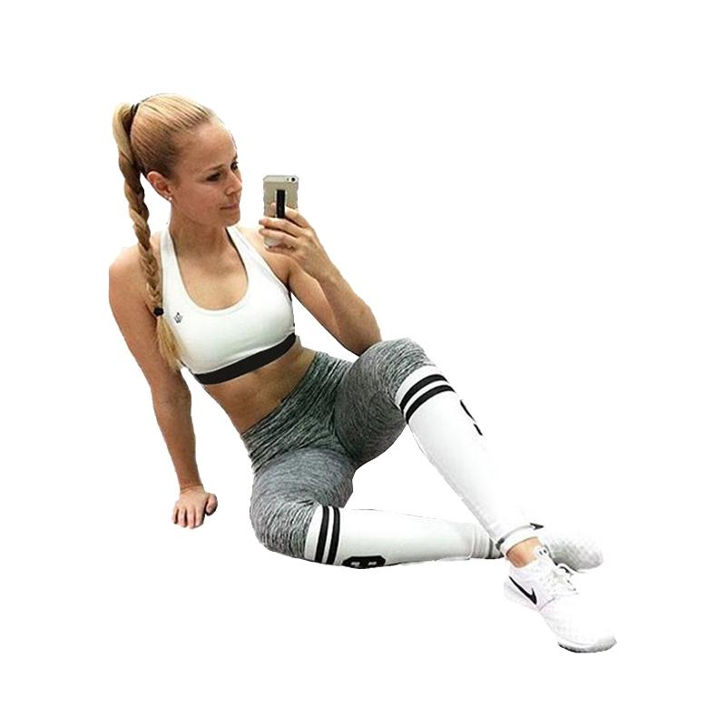 67ea3054ee63d 2019 Russia Brave Girls Sports Leggings Athletic Number Print Gray White  Patchwork Gothic Leggings Lady Fitness Casual Trousers Elastic Slim Pant  From ...