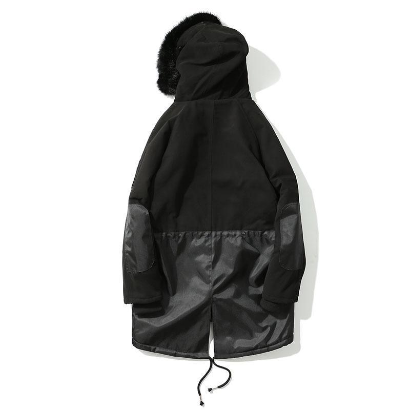 TKPA Mens Trench Coats Masculino Longo Preto Com Capuz Engrossar Casacos de Inverno Quente Casacos De Pele De Lã Zíperes Para Cima
