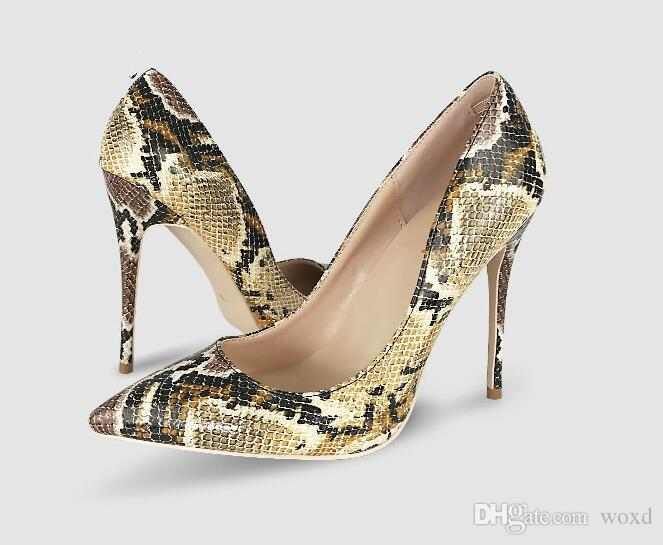 855f02007715 Shoes Woman Snake Printed Women Shoes Sexy 12CM High Heels Pumps Pointed  Ladies Party Wedding Shoes Women Pumps Stilettos Black Shoes Nude Shoes  From Woxd, ...