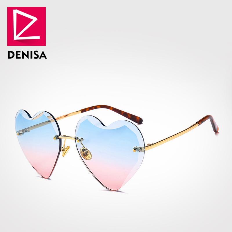 Compre Denisa Marca Sem Aro Coração Óculos De Sol Mulheres 2018 Moda  Senhoras Óculos De Sol Amor Em Forma De Coração Óculos Doces Meninas Uv400  G22096 De ... 25bc42946d