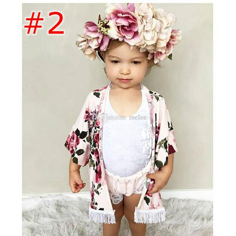 INS Little Girls full flower print fringe shawl Baby summer Spring Summer outwear fashion black & pink tassel floral print Cardigan 1-6Years
