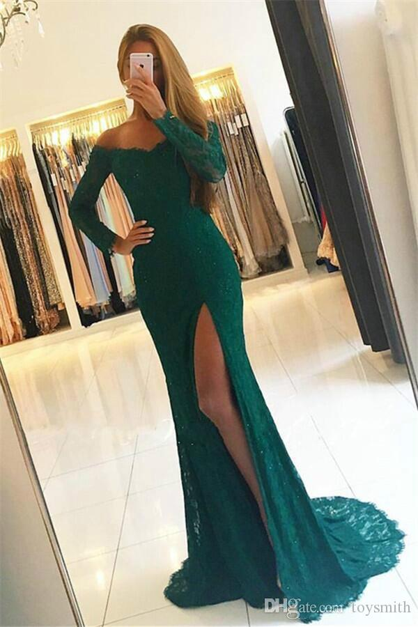 Sexy African Girl Sequins Off Shoulder Said Split Party Prom Dress Elegant Mermaid Lace Long Sleeve Evening Dress