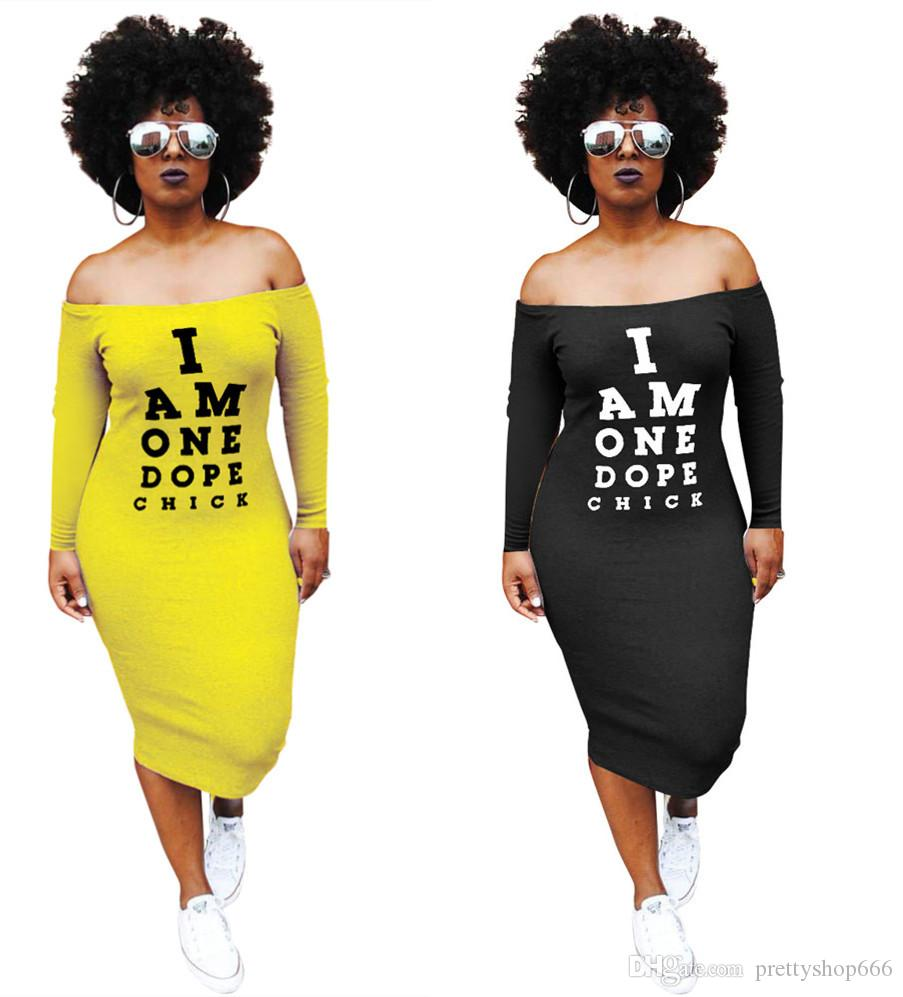 add26783ef1 Hot Sale 2018 Summer Short Sleeve Women Dress Letter Print Off The Shoulder Knee  Length Hip Dress Night Club Clothing Plus Size S XXL Lady Dress Evening ...