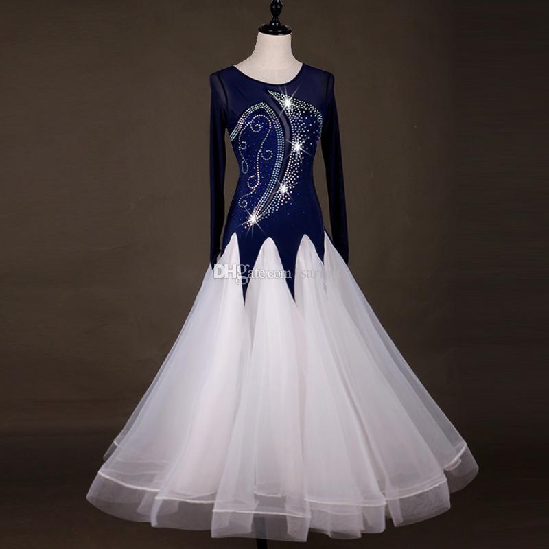 Ballroom Waltz Dresses Sale Ballroom Competition Dress Tango Dance Costumes Outfits D0987 Rhinestones Big Sheer Hem Mesh Sleeve