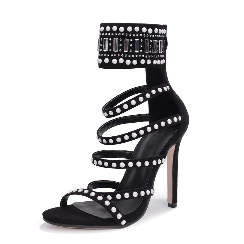 256fdac2566fc8 Rumbidzo Women Sandals 2018 Sping Summer Peep Toe High Heels Hollow  Gladiator Sandalias Rhinestone Crystal Shoes Woman Shoe Sale Shoes Uk From  Babygifts