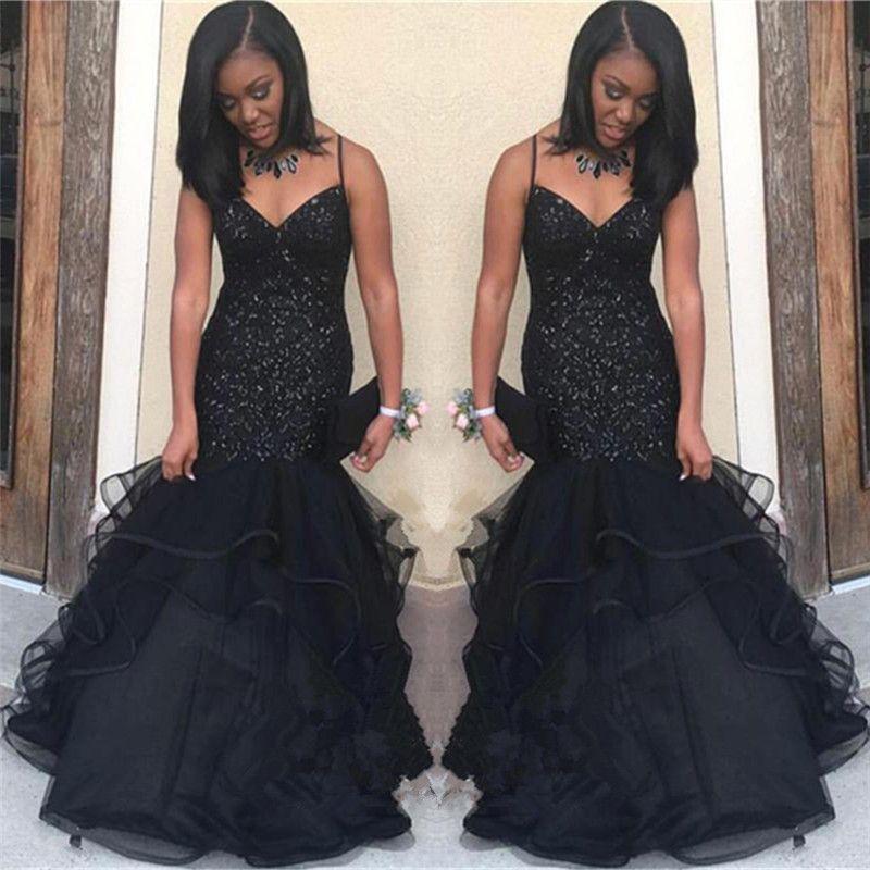 New Arabic Black Prom Dresses 2019 Spaghetti Crystal Beading Mermaid Ruffles Floor Length Formal Evening Party Gowns Vestidos Customized