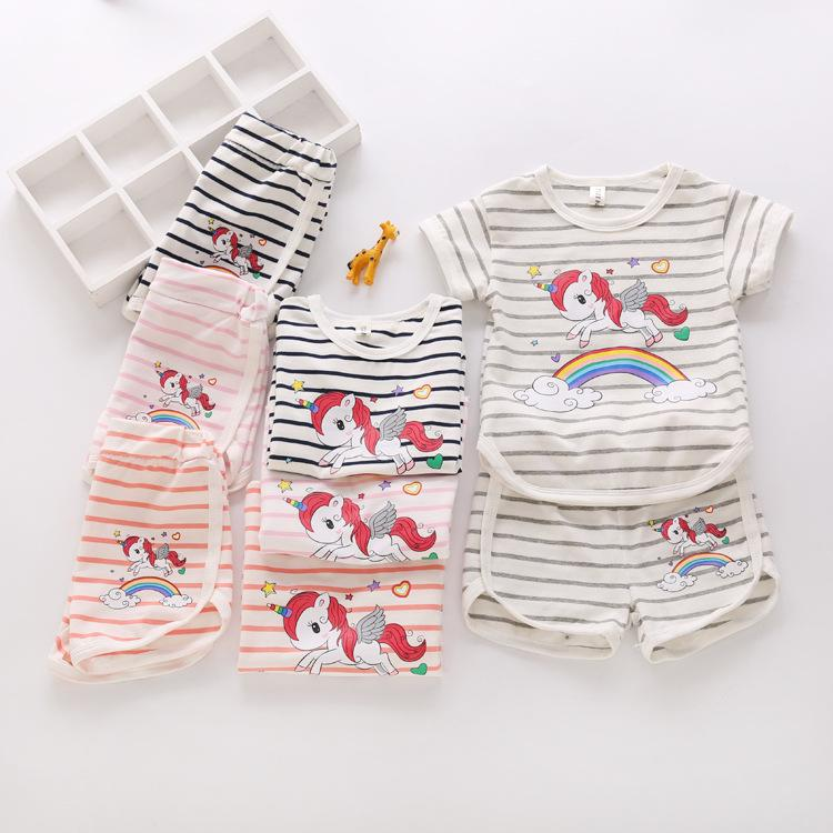 20581152b8e6 2019 Ins Rainbow Unicorn Baby Kids T Shirt + Shorts Outfit Girls ...