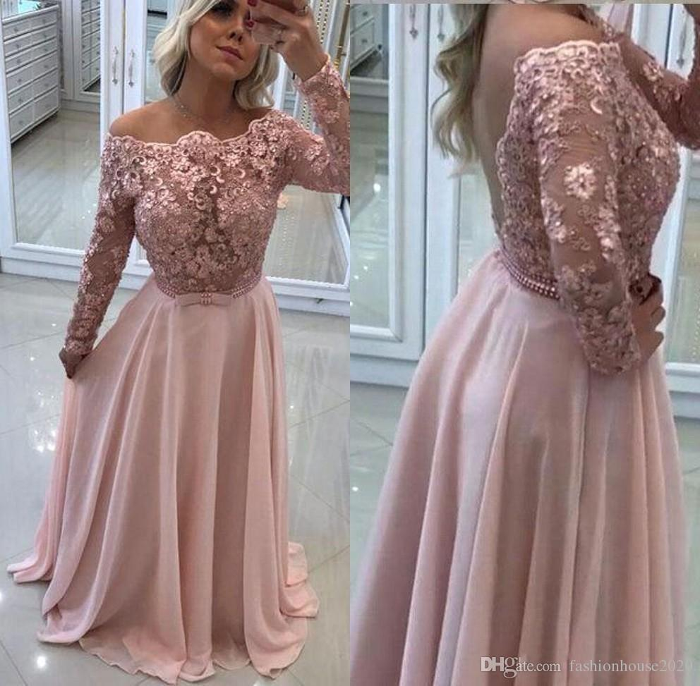 bd13025eee 2018 Prom Dresses Off Shoulder Long Sleeves Lace Appliques Beads Pearls  Sash Backless Sweep Trian Chiffon Arabic Party Pageant Evening Gowns Lace  Formal ...