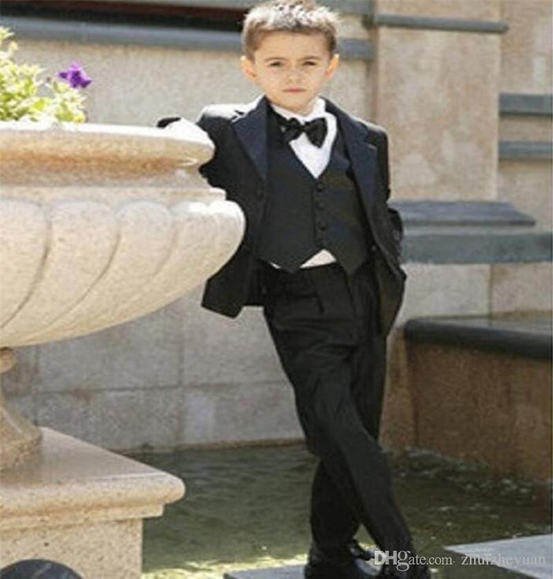Three Piece Custom Made Black Kids Wedding Suits Notch Collar Children Boys Suits For Wedding  Jacket+Pants+Vest+Tie
