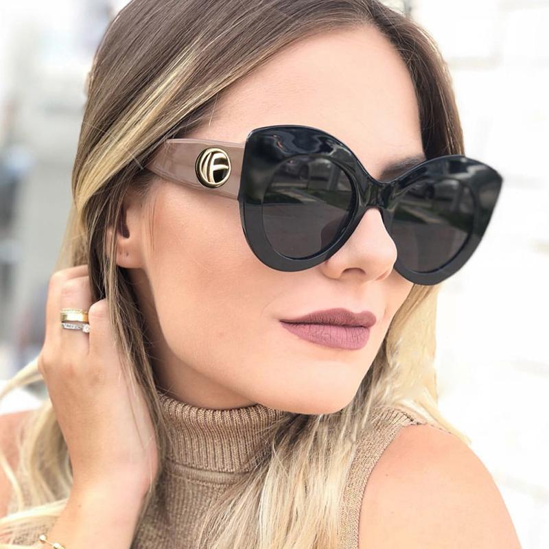 selezione migliore d4239 61216 Big frame cat eye sunglasses women 2018 Fashion personality shades UV400  Brand street shot sun glasses Designer Oculos de sol