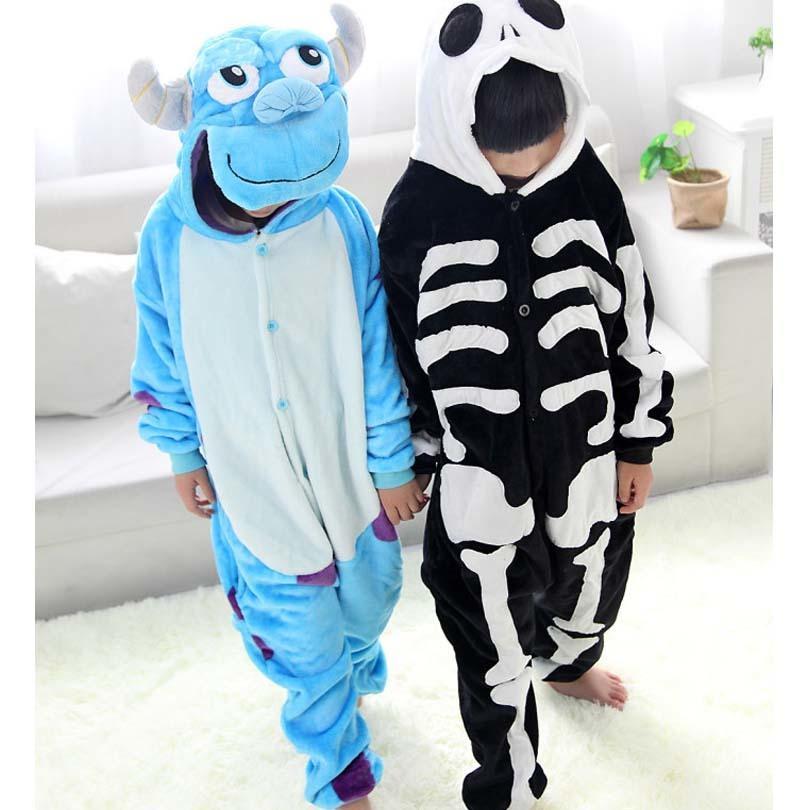 09f7e794a Sulley Human Skeleton Blanket Overalls Jumpsuit Pijama Infantil Kids ...