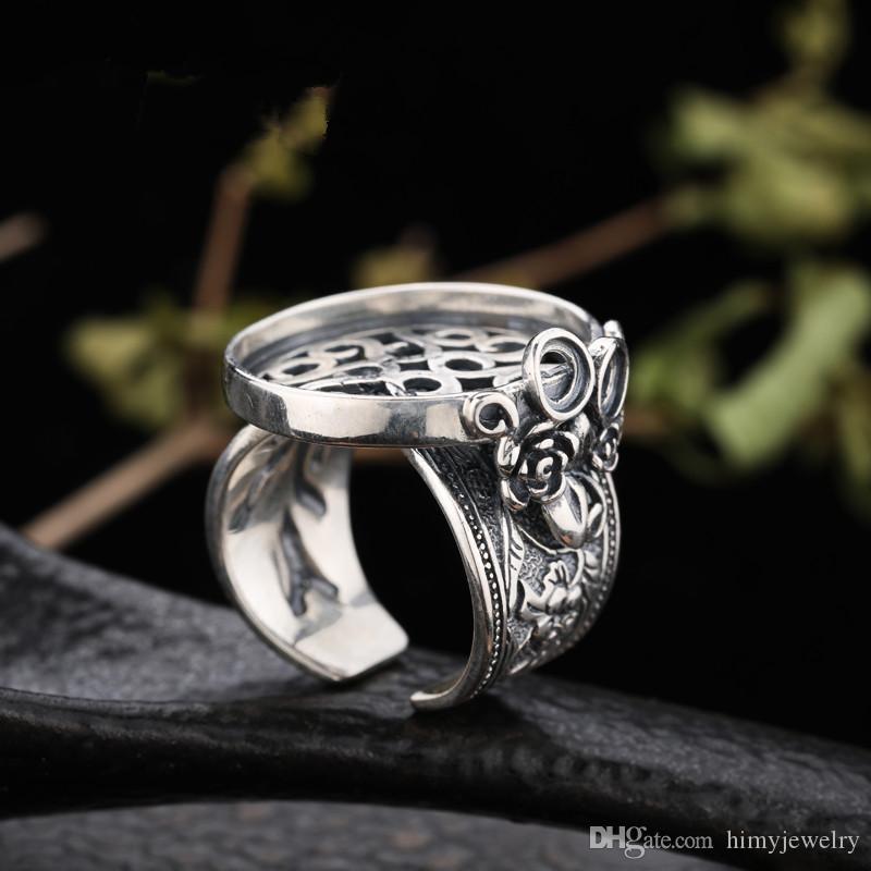 Fine argento 925 Sterling Silver Retro Vintage Anello Semi Mount Engagement Wedding Party Fine Jewelry impostazione
