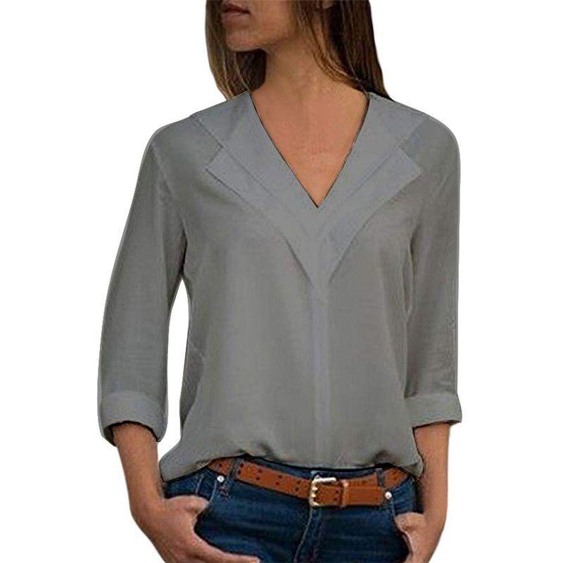 81a52b28e55 Autumn Women Chiffon Shirts Long Sleeved V Collar Designer Women s ...