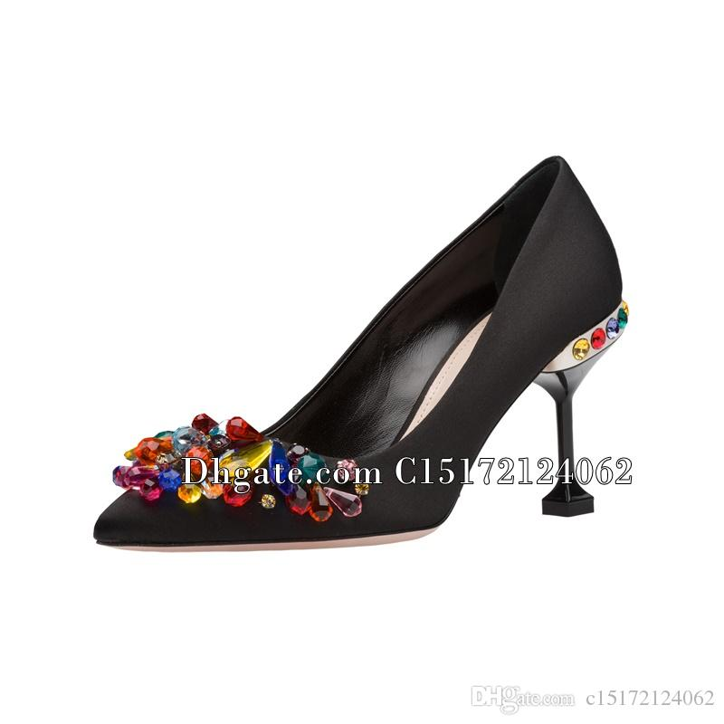 4d13efb0511 Wedding Pumps Pointed Toe Silk Bridal Plus Size Pearl High Heels Shoes  Satin Crystal Metal Women Colorful Rhinestone Bride Shoes Mens Shoes  Loafers From ...