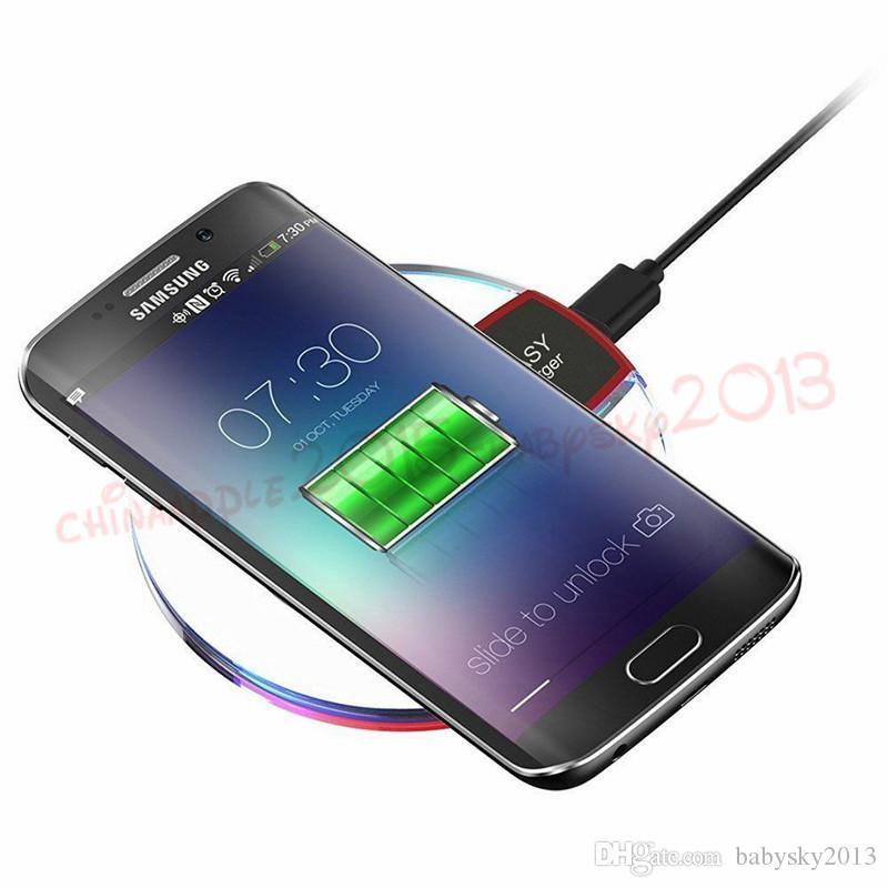 Qi kablosuz telefon şarj taşınabilir fantasy kristal evrensel LED aydınlatma tablet htc lg samsung galaxy için S6 S7 kenar için şarj