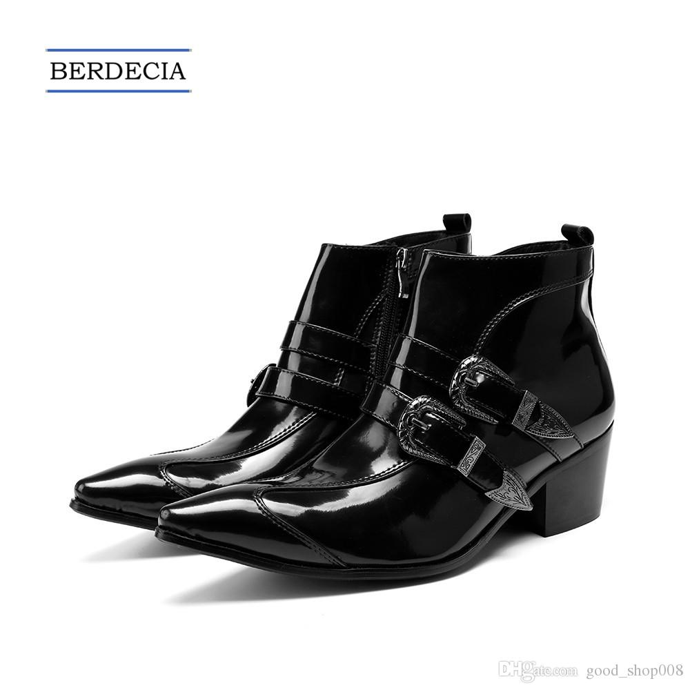 2018 Fashion Brand Genuine Leather Men Boots Black Pointed Toe Buckle Ankle  Boots Party Dress Shoes Large Size Motorcycle Boots Size 38 47 Moccasins  For Men ... 4be83c310ac6