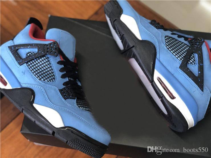 a2e7ee6303c2 Travis New Release 4 Houston 4S Cactus Jack IV Blue Basketball Shoes For  Men Limited Sneakers Authentic Quality 308497 406 Shoes For Sale Baseball  Shoes ...