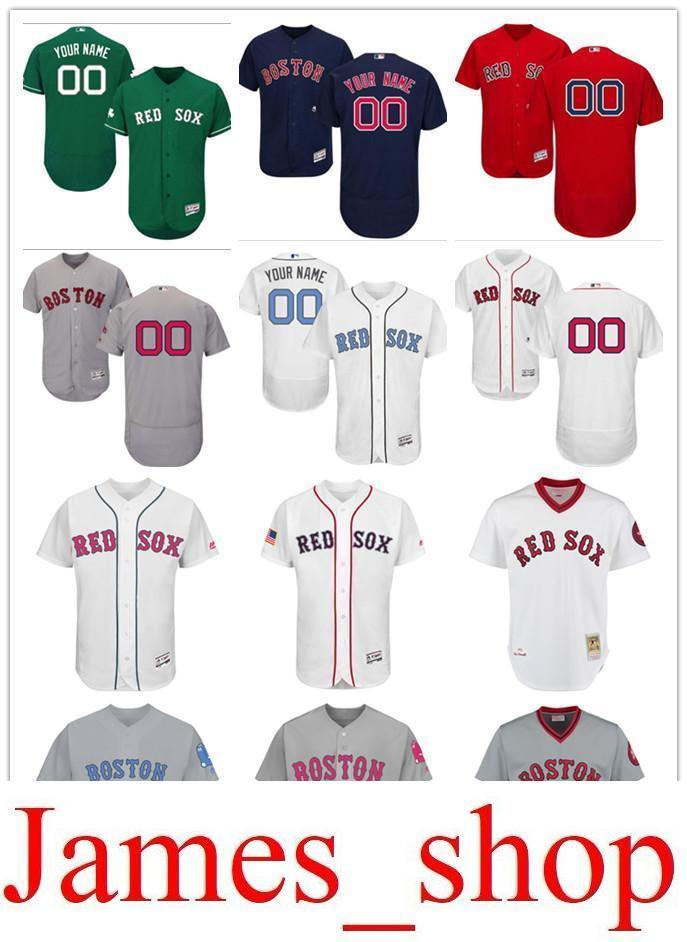 0bf8157f524 Custom Men s Women Youth Majestic Red Sox Jersey  00 Any Your Name And Your  Number Home Red Nary Blue Grey White Kids Girls Baseball Je Online with ...