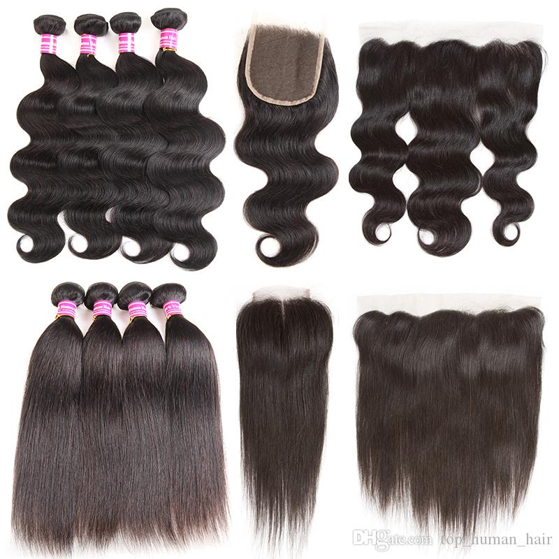 Unprocessed Brazilian Body Wave Human Hair Weaves 4 Bundles with Frontal 10A Malaysian Straight Virgin Hair Bundles with Closures Hair Weft