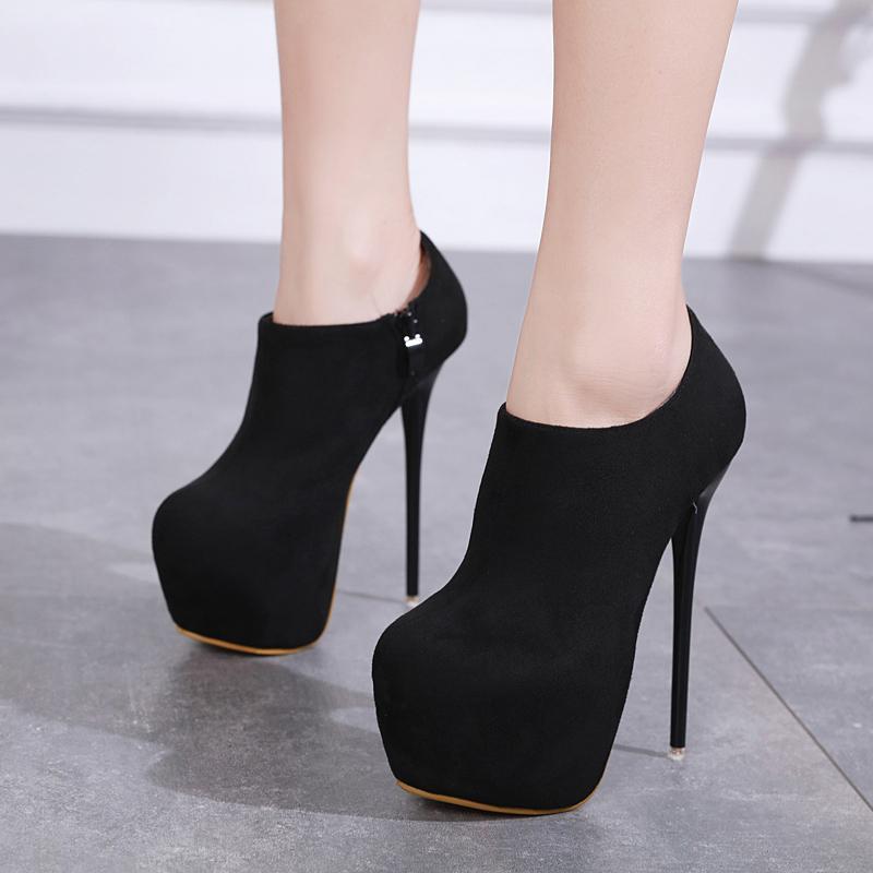 Compre Zapatos Altos De Mujer 16cm Zapatos De Mujer Con Tacones Sexy  Tacones Altos Plataforma Botas Mujeres Negro Suede Botines Zapatos De Mujer  A  47.45 ... 89d09f04f447