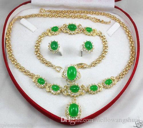 gioielli da donna verde giada giallo oro orecchino braccialetto collana anello + scatola